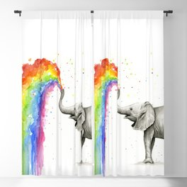 Baby Elephant Spraying Rainbow Blackout Curtain