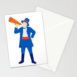 Ringmaster Shouting Bullhorn Retro Stationery Cards