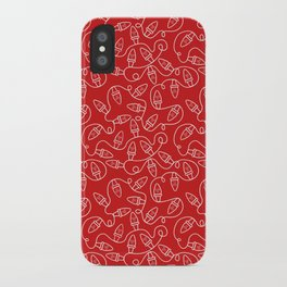 Seamless Christmas Lights (Red) iPhone Case