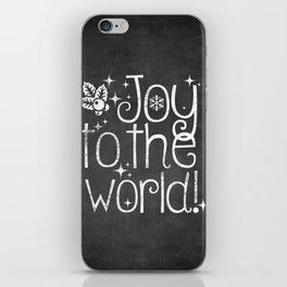 Joy to the world chalkboard christmas lettering iPhone Skin