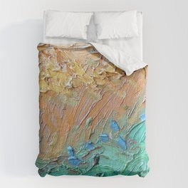 Wheat Field with Cypresses Brush Detail by Vincent van Gogh Comforters