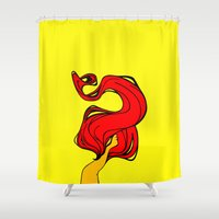 redhead Shower Curtains featuring Redhead by Moonworkshop
