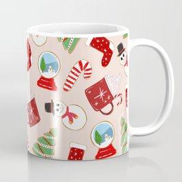 Festive Red Christmas Cookie Illustration Pattern Coffee Mug