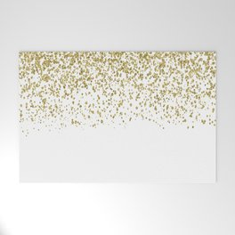 Sparkling gold glitter confetti on simple white background - Pattern Welcome Mat