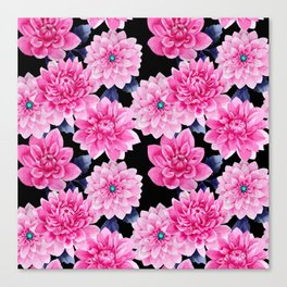 Pink purple blue watercolor girly peonies floral Canvas Print
