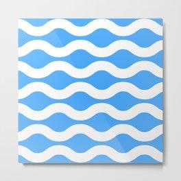 Wavey Lines White & Blue Metal Print