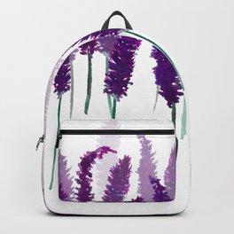Lavender Field   Purple Flowers in Watercolor Backpack
