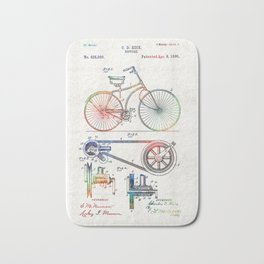 Colorful Bike Art - Vintage Patent - By Sharon Cummings Bath Mat