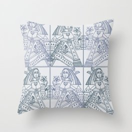 Ladies Only - Mid Century Modern Pale Blue Throw Pillow