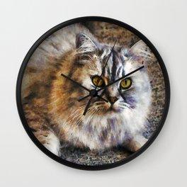 Brown Cat Wall Clock