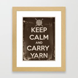 Keep Calm and Carry Yarn - Sepia Panel - Knitting Framed Art Print