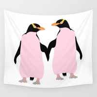 maori Wall Tapestries featuring Gay Pride Lesbian Penguins Holding Hands by mailboxdisco
