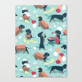 Hot dogs and lemonade // aqua background navy dachshunds Canvas Print