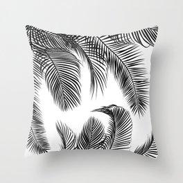 Black palm tree leaves pattern Throw Pillow