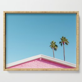 Pink House Roofline with Palm Trees (Palm Springs) Serving Tray