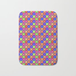 Numbers and Vowels Colorful Pattern Bath Mat
