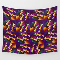 milan Wall Tapestries featuring Dragonflies Rainbow Q by Vitta