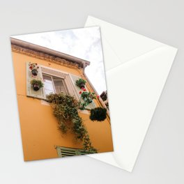 Old Orange House in Menton, France, South Europe | Travel photography print - Colorful & bright full of summer vibes! Stationery Cards