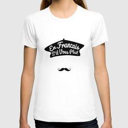 En Francais S'il Vous Plait - French Language Beret T-shirt