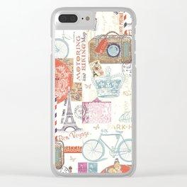 Paris Pattern 1 World Travel Clear iPhone Case