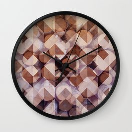 Pattern with birch logs background Wall Clock