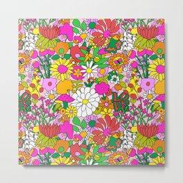 60's Groovy Garden in Pink Metal Print
