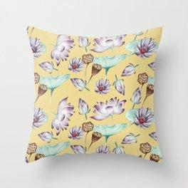 Lotus Flower on Yellow Pattern Throw Pillow