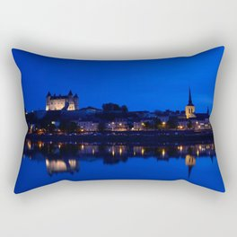 Panorama of Saumur at night , France. Rectangular Pillow
