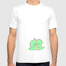 Dino Love Color White MEDIUM Mens Fitted Tee