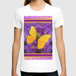 DECORATIVE LILAC-YELLOW FRAMED BUTTERFLY T-shirt