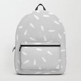 White Raindrops on Pastel Gray Background Backpack