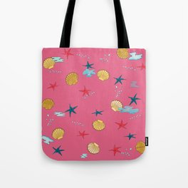 seashells and starfishes - pink Tote Bag