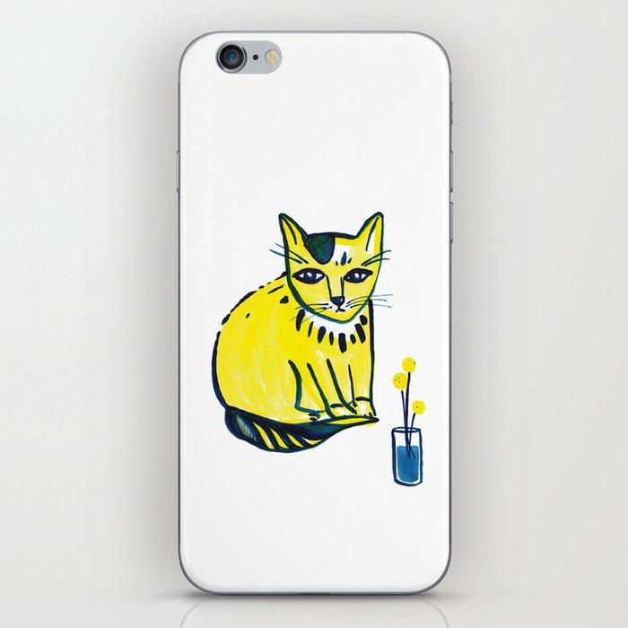Yellow Cat with Craspedia iPhone Skin