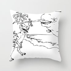 Narwal and Velociraptor Fighting over Bacon Throw Pillow