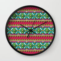 aztec Wall Clocks featuring Aztec by Shelly Bremmer