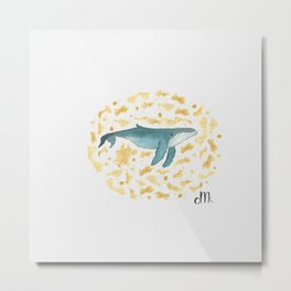 Blue Whales Swimming in Gold Metal Print