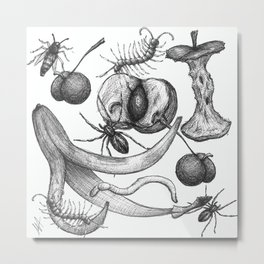 Bug Creepy Crawly Rotten Fruit Illustrative Design Metal Print