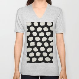 Trendy Cream Polka Dots on Black Unisex V-Neck