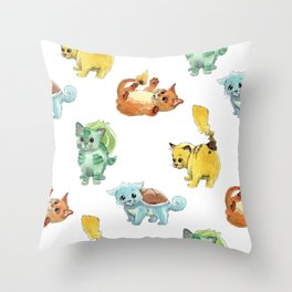 Starter Pokekittens Team Throw Pillow