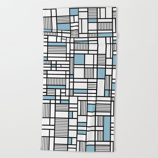 Map Lines Sky Blue Beach Towel