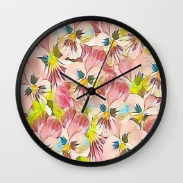 Abundance Of Pink Pansies Wall Clock