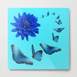 BLUE DAHLIA FLOWER & BLUE BUTTERFLIES ALLURE Metal Print