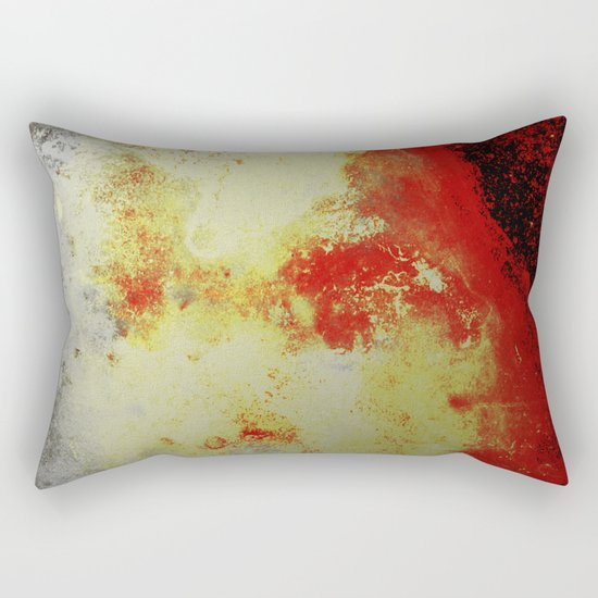 Into The Heat - Black, red, yellow and silver abstract painting Rectangular Pillow