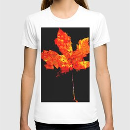 orange and yellow geometric polygon maple leaf abstract with black background T-shirt