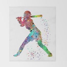 Baseball Softball Player Sports Art Print Watercolor Print Girl's softball Throw Blanket