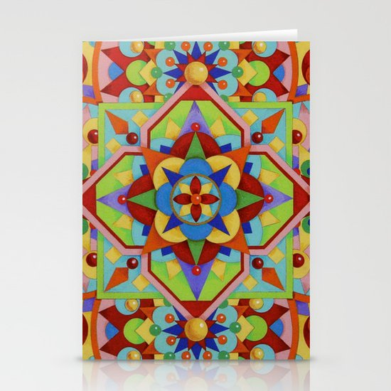 Chartres Mandala - yellow ground Stationery Cards