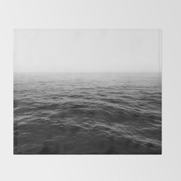 ocean horizon black and white landscape photography Throw Blanket