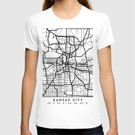 KANSAS CITY MISSOURI BLACK CITY STREET MAP ART T-shirt