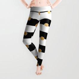 Black and white stripe gold dot Leggings