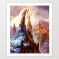 magic the gathering Art Prints featuring Mountain - Magic: The Gathering by vmeignaud